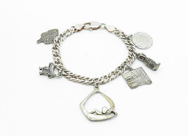 925 Sterling Silver - Vintage Assorted Charm Curb Link Chain Bracelet - B6015 image 3