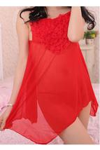 Unomatch Women Short Chiffon Irregular Relax Sleepwear Lingerie Red - $19.99