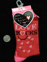 Novelty Print Red Heart-LOVE ROCKS-Crew Socks-Funky Punk Retro Fashion A... - $5.67