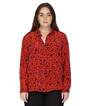 Benares Women's Gracia Button Down Shirt - Long Sleeve Shirt, Red, Plus Size, 3X