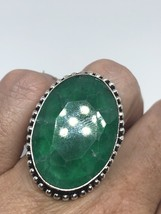 Vintage Silver Genuine Faceted Green Chrysoprase Size 6.5 Ring - $75.24