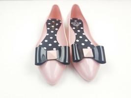 Kate Spade New York size 7 women's jelly ballerina flat Pink W Black Bow... - $43.62