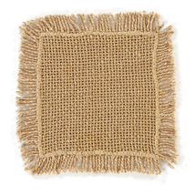BURLAP NATURAL Coasters Fringed - Set of 8 - 4x4 - Soft Cotton - VHC Brands
