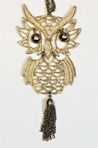 1970s Vintage Gold Tone Wise Owl Pendant Necklace With Chain Tassel Tail - $19.28