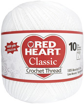 Red Heart Classic Crochet Thread Size 10-White - $9.95