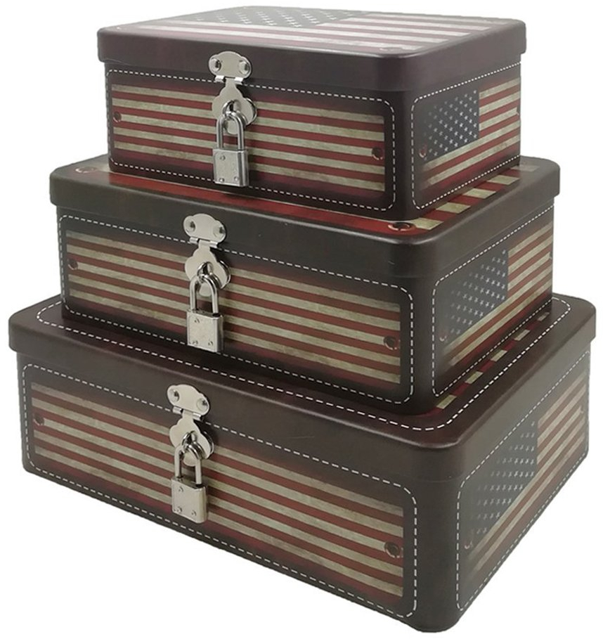 Fifriver American Flag Decorative Storage Box Metal Tin