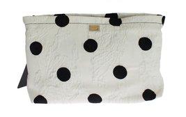 Dolce & Gabbana White Black Polka Dots Brocade Hand Clutch Bag - $16.040,43 MXN