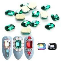 10pcs Nail Rhinestone Gem Stone Rectangle Big Flat Shiny Crystal Nail Ar... - $3.50