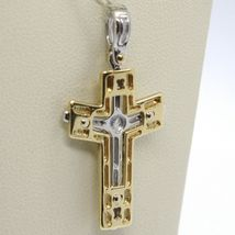 Cross pendant yellow gold white 750 18k, with Christ, shiny and satin image 4