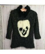 Vtg Designer Fleece Lined Sweater with Rabbit Fur Smily Face Applique an... - $67.15