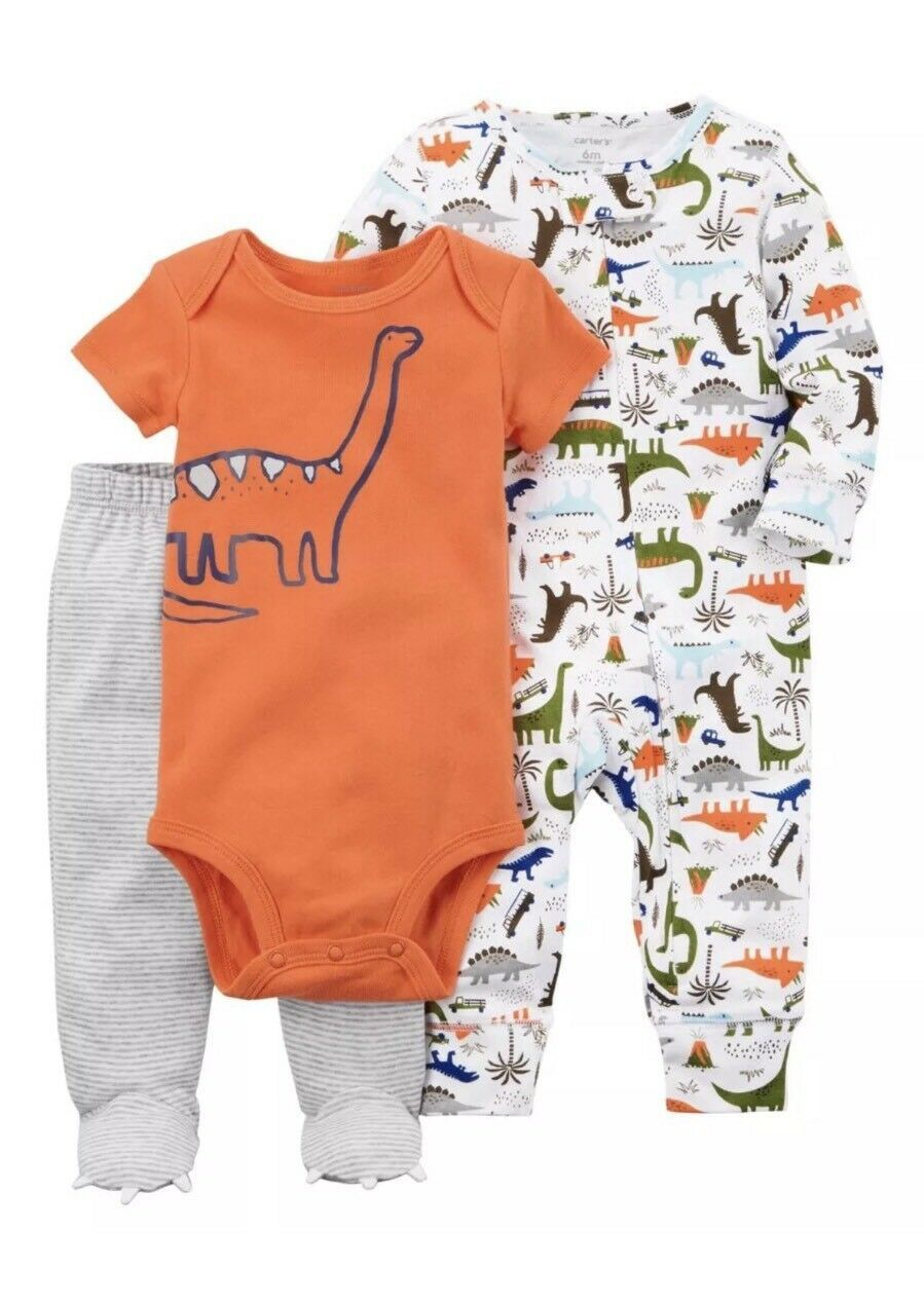 Carter's Baby Boys' 3 Piece Dinosaur Sleep and Play Set Size P Ships N 24h - $17.33