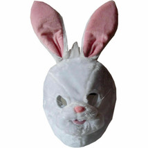 White And Pink Plush Bunny Rabbit Face Mask By Dress up America Purim Ha... - $19.99