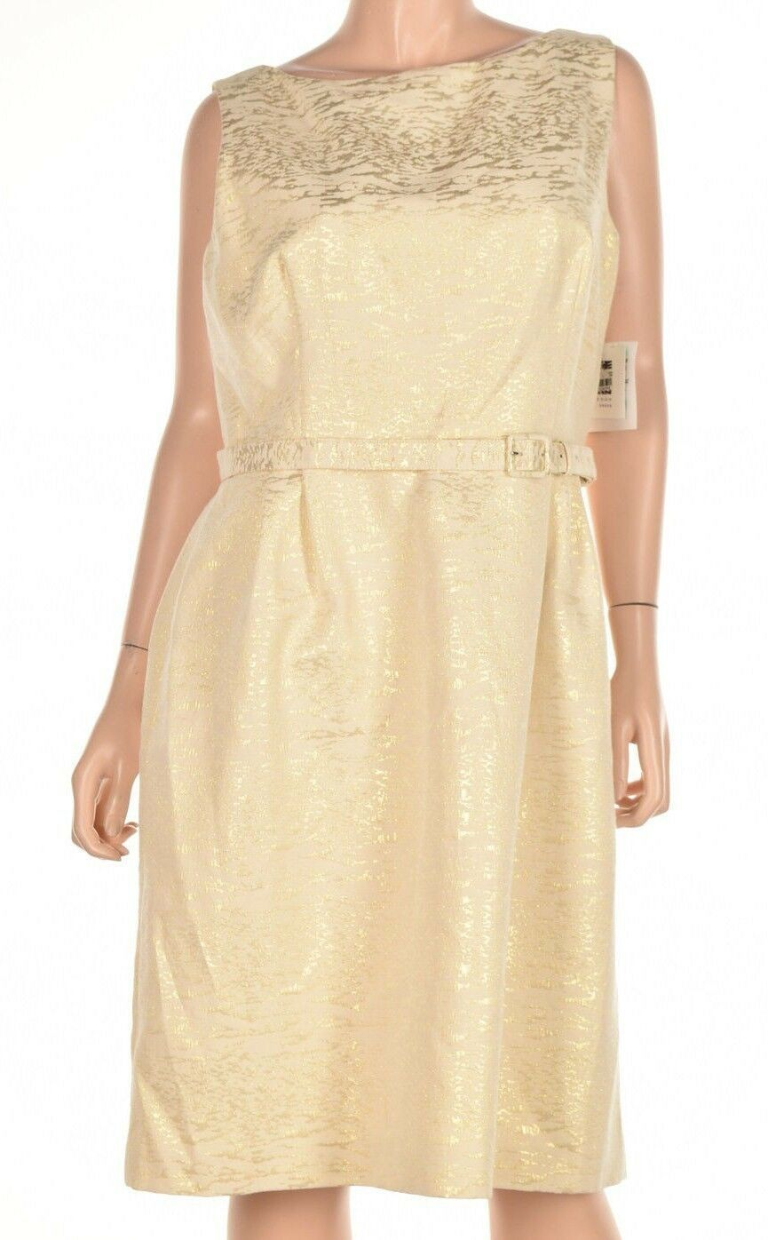 Primary image for Anne Klein Women's Belted Jacquard Fit Flare Gold Combo Dress Size 14 $139