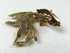 Beautiful Large Statement Gold Tone Betta Fish with Red Eyes Brooch Pin ... - $25.00