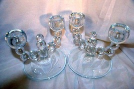 Paden City Alexander Clear Double Light Bluebell Etched Base Candlestick... - $13.16
