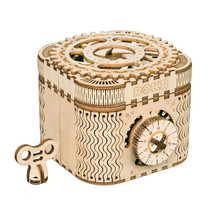 Mechanical Wooden Treasure Box Model Kit 3D Building DIY Toy - $63.70