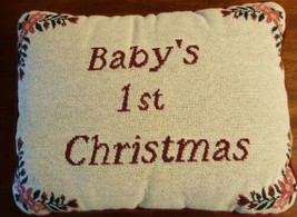 Baby's First Christmas Throw Pillow Cream Red Tapestry  - $7.91