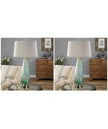 "TWO 33"" FROSTED SEA GREEN GLASS TABLE LAMP AGED BRASS DETAILS LINEN SHAD... - $497.20"