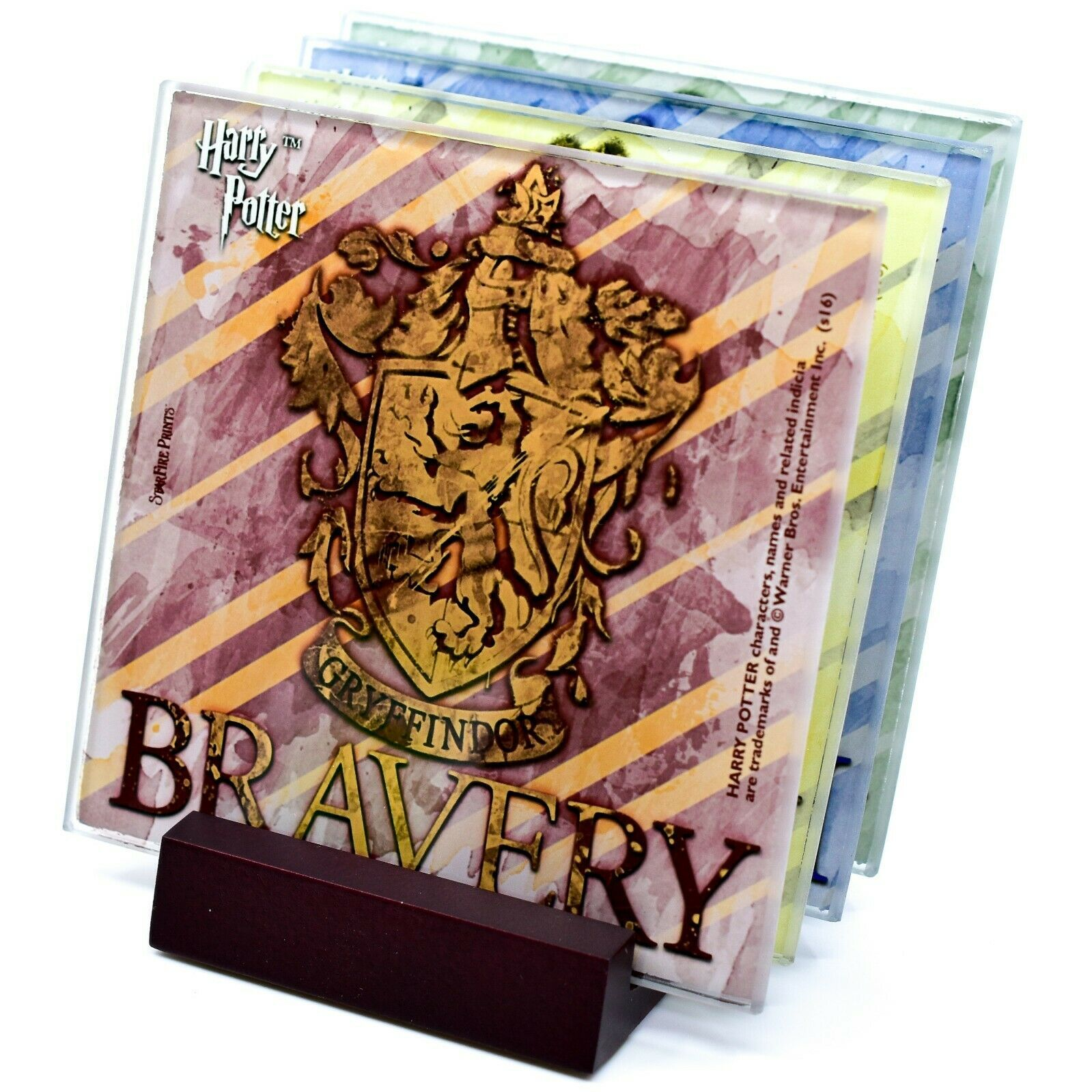 Harry Potter Hogwarts House Crest Prints 4 Piece Fused Glass Coaster Set Holder