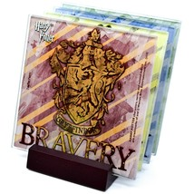 Harry Potter Hogwarts House Crest Prints 4 Piece Fused Glass Coaster Set Holder image 1