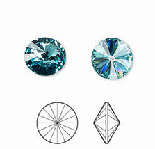 12mm Crystal Swarovski Chaton Rivoli Beads 1122, 4 Light Turquoise, blue... - $2.70