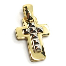 """SOLID 18K YELLOW & WHITE GOLD DOUBLE SQUARE CROSS, 0.8"""",  SMOOTH, ITALY MADE    image 1"""