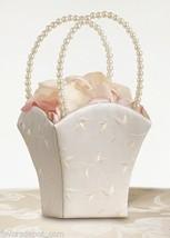 Ivory Vine Flower Girl Basket Pearl Handle Embroidered Wedding Basket - $9.00