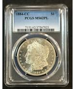 1884-CC Morgan Silver Dollar PCGS MS-62 PL  Proof-Like  Very Deep Mirrors - $282.15