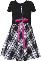 Rare Editions Little Girl 2T-6X Black/white Plaid Ruffle Cardigan Dress Sett