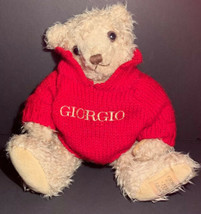 "Vintage GIORGIO Beverly Hills 10"" Teddy Bear Sitting Knitted SWEATER Red... - $34.90"