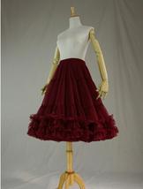 Burgundy MIDI Tulle Skirt Women High Waist Tulle Midi Skirt Ballet Dance Skirt image 6