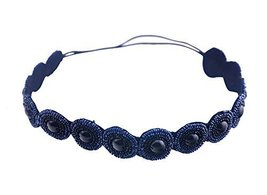Hand-beaded Crystal Rhinestones Headband Headdress, Navy Beads