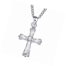 Rose Gold Cross Pendant Necklace for Women Girl Dainty Crystal Everyday ... - $22.49