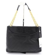Tory Burch Alexa Black Quilted Slouchy Leather Center-Zip Tote Shoulder Bag - $375.01