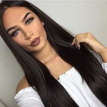 RDY Best Synthetic Hair Black Long Straight Wig Lace Front Wigs with Middle Part