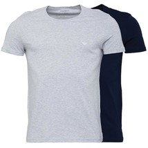 Emporio Armani Mens Pack of Two T-Shirt Navy and Grey 100% cotton - $55.88