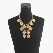 NWT J CREW Gold Clear Crystal Flower Large Statement Necklace - $1.053,62 MXN