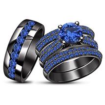 14k Black GP 925 Silver Round Blue Sapphire Trio Engagement Ring Set & Free Gift - $238.99