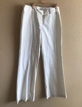 NWT Express Editor Pants Cream Ivory Wide Leg Cotton Belt Women 8 Stretch - $24.74