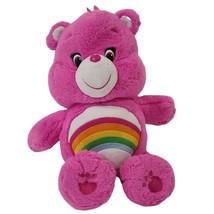 "Care Bear Plush Pink Cheer Bear Rainbow 14"" Stuffed Animal  Soft Cuddly - $11.73"