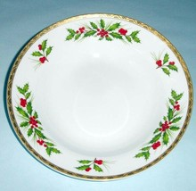 """Gorham Festive Holly Soup Pasta Bowl 9"""" Gold Banded New - $15.90"""