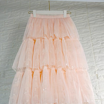 Blush Layered Tulle Skirt Outfit Midi Tiered Tulle Skirt Plus Size Holiday Skirt image 3