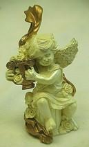 Whimsical Cherub Angel Resin Shelf Figurine Playing Musical Instrument - $12.86