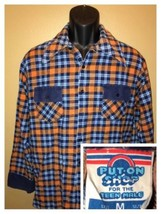 Vintage 70s Put On Shirt Flannel Plaid Checks Sears Teen Male 100% Cotton Size M - $46.95