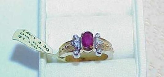 Primary image for 14K .50CT RUBY 6 DIAMOND Band RING Yellow Gold New Tag $1150 Size 7