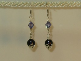 made w Swarovski Blue Crystal Pearl Blue Elements with Silver Accent Ear... - $14.85