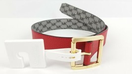 Micheal Kors Womans Grey MK Logo Gold Buckle Reversible Red Belt Size Sm... - $48.40
