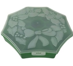 Vtg Christmas Plastic VEGGIE/FRUIT DIP TRAY Covered Green Holly Berry Wr... - $21.73