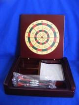 Executive Dart Game Rosewood Desk Organizer Magnetic Darts - $19.95