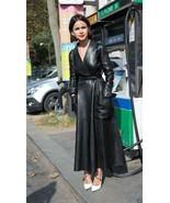 New Black Pure Leather Trench Coat Women Genuine Lambskin Winter Coat Al... - $365.24+